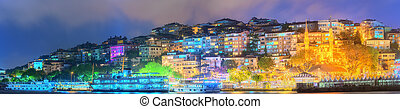 Panorama of Istanbul and Bosporus at night, Turkey