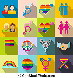Gays flat icons set Love, family and gays icons with shadows...