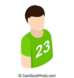 Sportsmen isometric 3d icon. Single character in green...