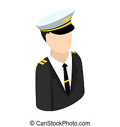 Pilot isometric 3d icon - Pilot with suit and hat isometric...