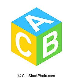 ABC block isometric 3d icon