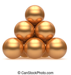 Pyramid sphere ball golden hierarchy corporation top order icon