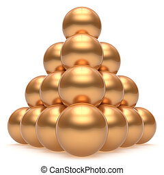 Pyramid hierarchy corporation sphere ball gold top order leader