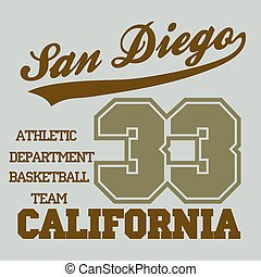 San Diego CA, fashion Typography, sport emblem design,...