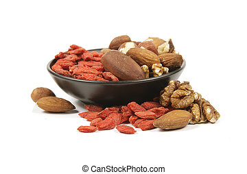 Goji Berries and Nuts - Red dry goji berries with mixed nuts...