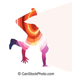 Hip hop dancer silhouette isolated abstract vector background concept