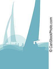 Sailing ship yacht in sunrise vector background abstract...