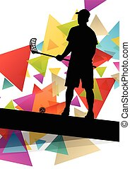 Floorball players silhouettes active and healthy sport...