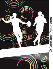 Rugby players young active women healthy sport silhouettes vector background