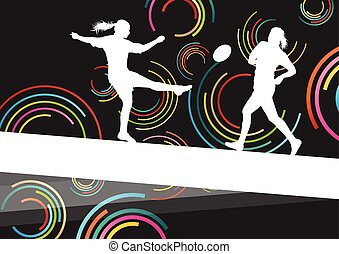 Rugby players young active women healthy sport silhouettes...
