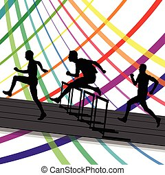 Hurdle race active and healthy men barrier running vector...