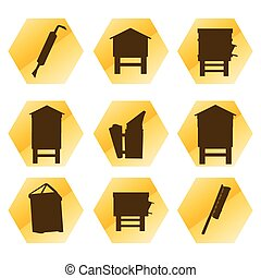 Beekeeping vector background tool set and beekeepers icons...