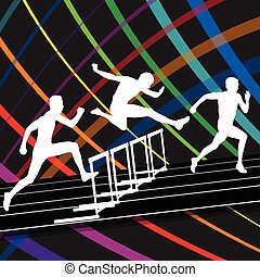 Hurdle race active and healthy men barrier running vector background winner overcoming difficulties concept graphic