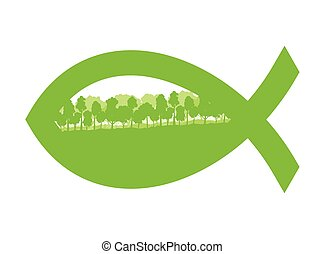 Christian fish green abstract vector background concept...