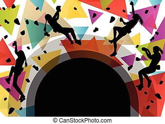 Children girl silhouettes on climbing wall in active and...
