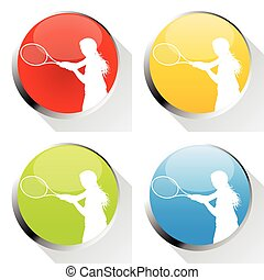 Tennis player woman web icon or badge vector background set