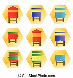 Beehives vector background set icons illustration isolated...