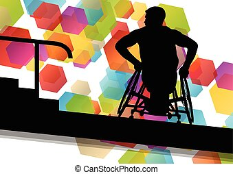 Active disabled men in a wheelchair medical health concept...