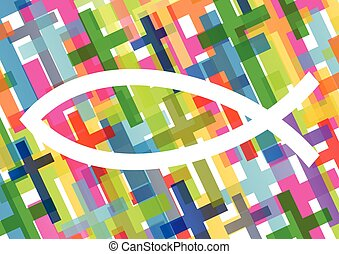 Christian fish Jesus symbol abstract vector background concept