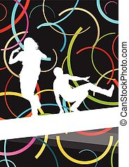 Street dancers young active and healthy people sport silhouettes vector background