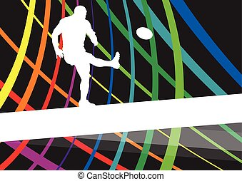 Rugby player young active man healthy sport silhouette...