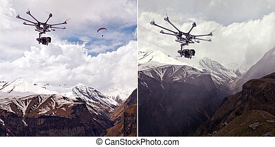 The professional copter - Copter flying over mountainous...