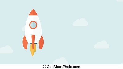 Start Up 4K Animation Design - Animated Flat Rocket Flying...