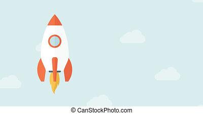 Start Up 4K Animation Design. - Animated Flat Rocket Flying...