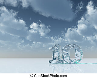 frozen number ten - 10 - under cloudy blue sky - 3d...