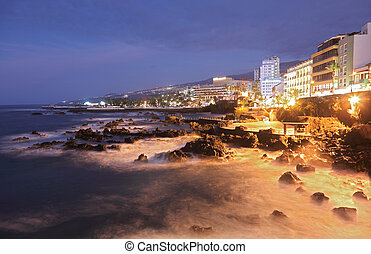 Tenerife - Puerto de la Cruz. Long exposure night scene...