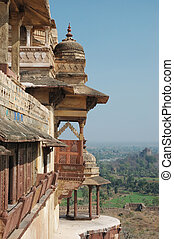 Old balcony of the jahangir palace,Orchha,India - Old...