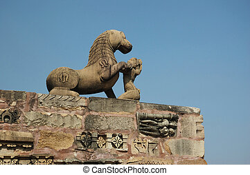 Statue of Lion at Khajuraho, famous hindu sacred place