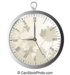 Pocket watch - Stylized pocket watch over white background
