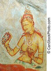 Wall painting in Sigiriya rock monastery, Sri Lanka