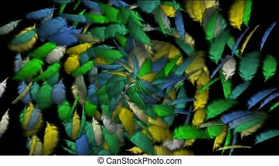 Rotation of color flying feather background,def