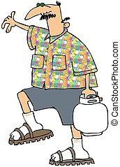 Man Carrying A Propane Bottle - This illustration depicts a...
