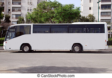 White Bus with Blank panel - A Blank white sign on a white...
