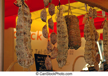 french delicatessen - french typical sausages in a market