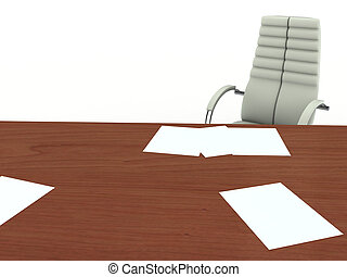 Office furniture - Office desk and armchair. Isolated On...