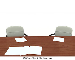 Office furniture - Office table and two armchairs. Isolated...
