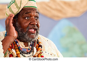 The african speech - Portrait of African Storyteller giving...