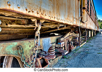 Old rusted train - View of an old rusted train abandoned in...