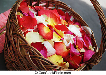 rose petals in the basket