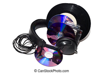 cassettes, vinyl records, CD and Headphones - audio...