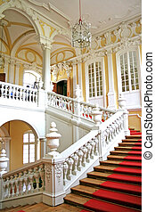 Staircase with vases Rundales Castle, Latvia