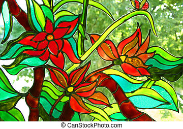 Stained-glass painting - Painting on a window, drawn the...