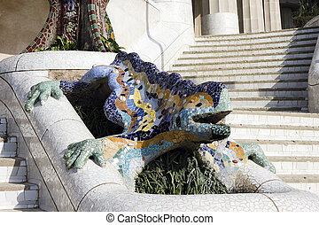 Park G?ell ,Barcelona - Park G?ell, dragon fountain at the...