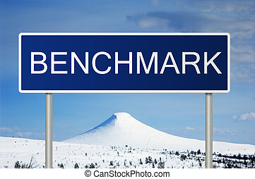 Road sign with text Benchmark - A blue road sign with white...
