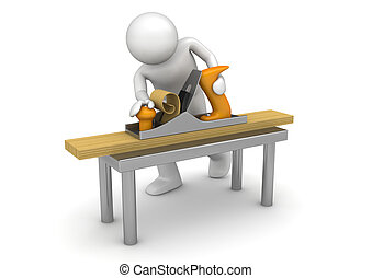 Carpenter working with bench plane - 3d characters isolated...