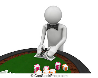Croupier shuffles the cards - 3d characters isolated on...